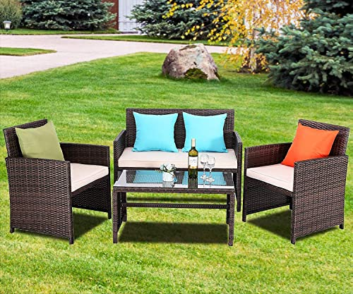 Do4U Outdoor Patio Furniture Set 4 Pcs PE Rattan Wicker Garden Sofa and Chairs Set