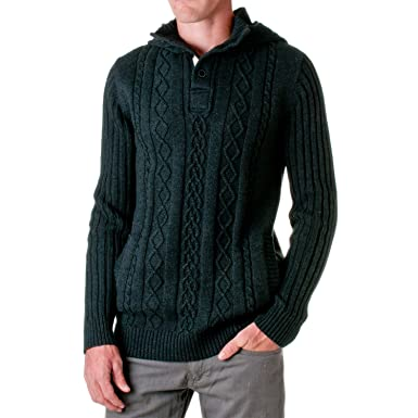D Lux Mens Cotton Cable Knit Hooded Sweater Black Small At Amazon