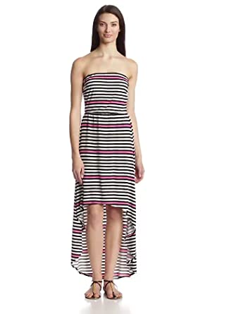 Laundry by Design Women's Strapless Hi-Lo Maxi Dress, Neo Pink Multi, Small