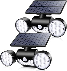 Solar Lights Outdoor, Ambaret 30 LED Motion Sensor Light Waterproof Solar Motion Lights Outdoor Spotlights Security Night Lights 360° Rotatable Wall Light for Yard Stairway Security Lighting (2 Pack)