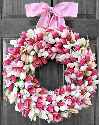 Spring Summer Wreaths For Front Door, Tulip Wreath, Front Door Wreaths,  Tulip Wreath