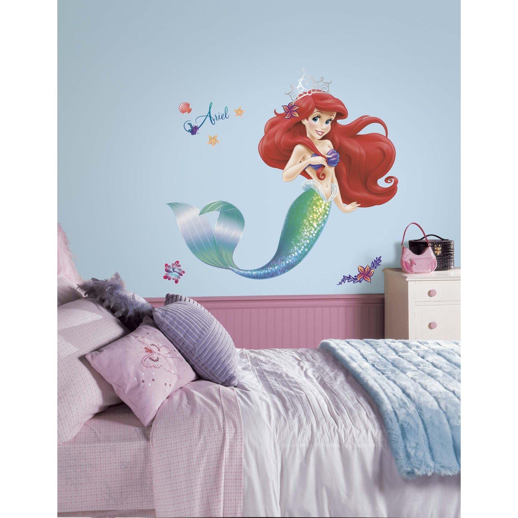 21 Piece Kids Green Purple Red Little Mermaid Wall Decals Set, Disney Themed Wall Stickers Peel Stick, Movie Classic Princess Ariel Fish Ocean Water Sea Sparkling Shells Decorative Mural Art, Vinyl