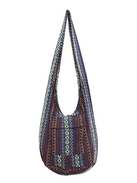 1940b141141d0 Changnoi Unique Hippie Sling Crossbody Bag Woven Cotton Tribal Pattern  (Tribal Brown)  Handbags  Amazon.com