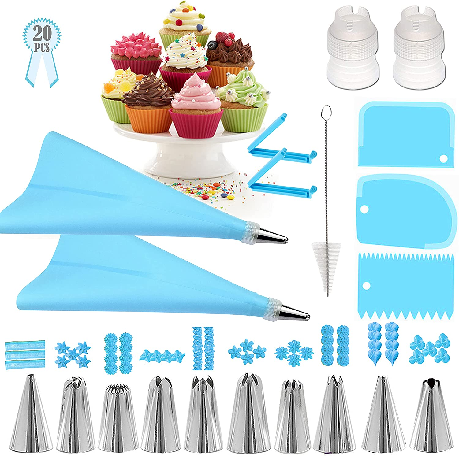 Geioireny Piping Bags and Tips Set, 20Pcs Cake Decorating Kit Tools for Beginner,Icing Tips,Pastry Bag,Smoother, Piping Nozzles Coupler for Baking Supplies(20 Pcs, Blue)