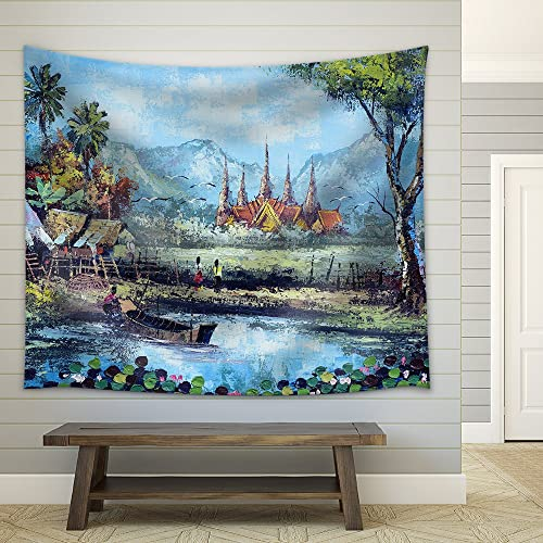 wall26 – Original Oil Painting on Canvas – Waterside Life in Thailand – Fabric Wall Tapestry Home Decor – 68×80 inches