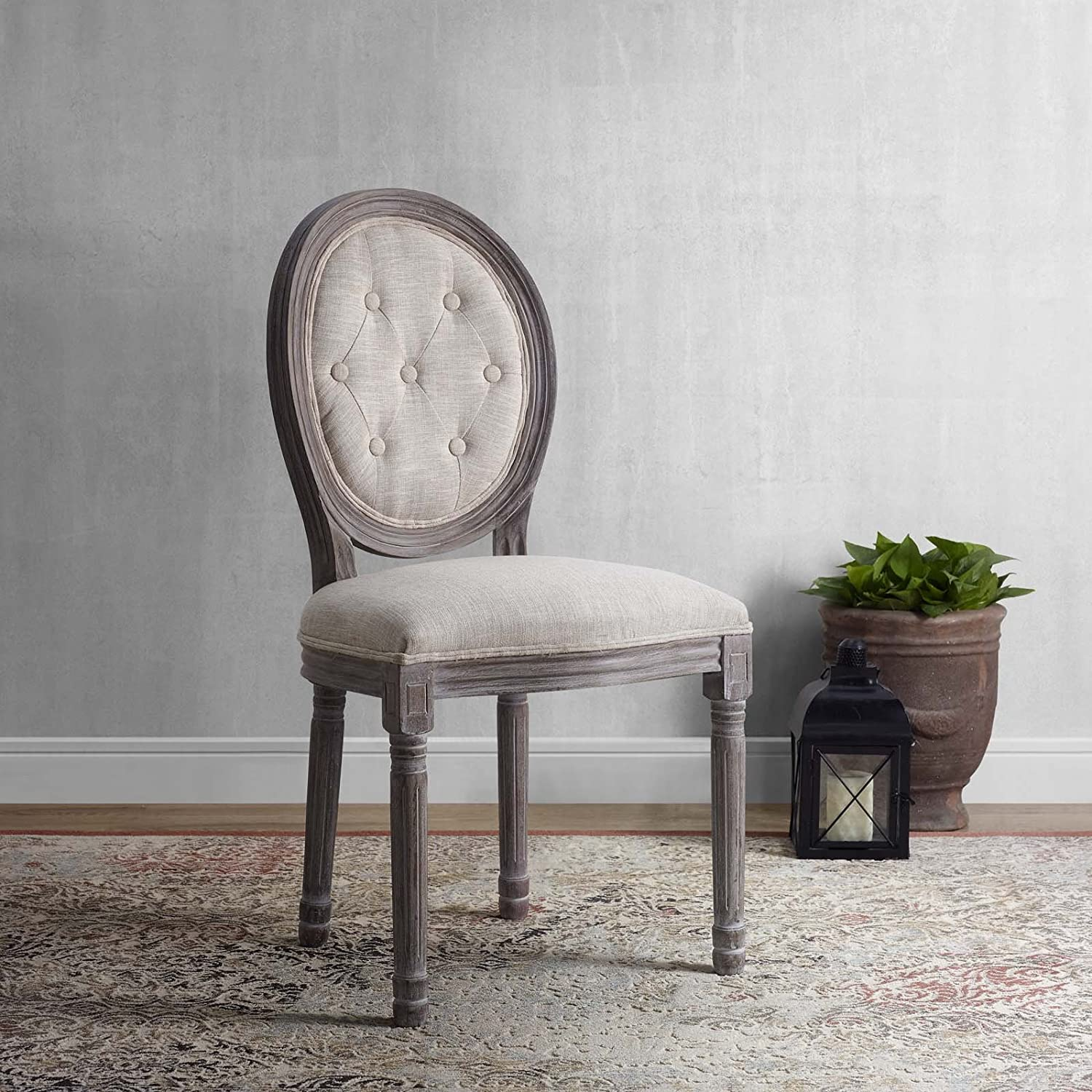 Modway Arise French Vintage Tufted Upholstered Fabric Weathered Wood Kitchen and Dining Room Side Chair in Beige – Fully Assembled