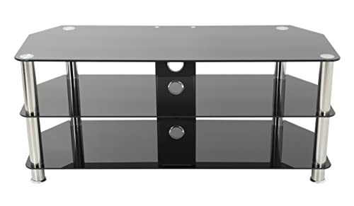 AVF SDC1140CM-A TV Stand with Cable Management for up to 55-inch TVs, Black Glass, Chrome Legs