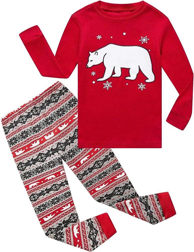 Boys Girls Christmas Striped Reindeer 2 Piece Kids Pajamas Toddler Sleepwear 100/% Cotton
