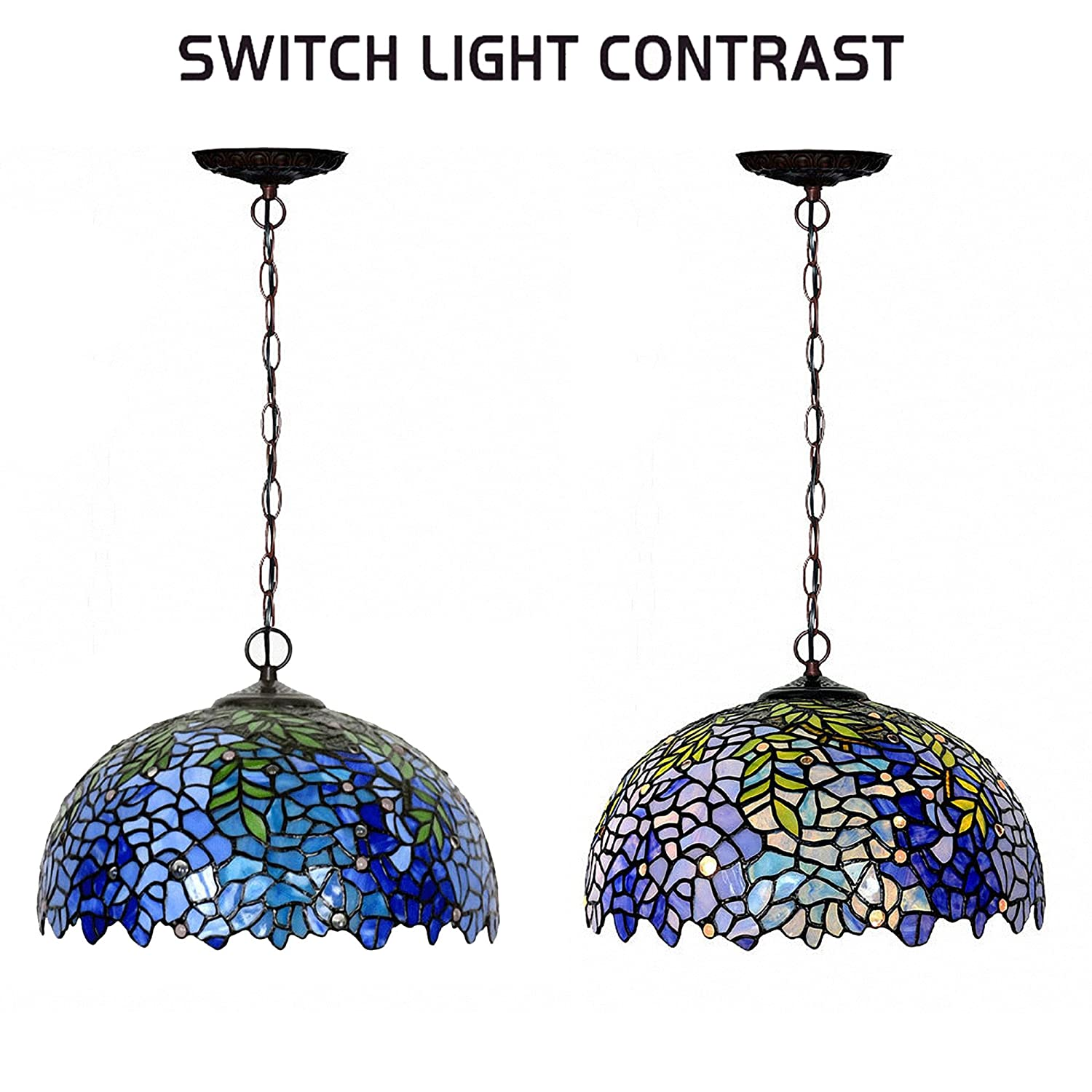 Chandeliers,Magcolor Tiffany Style Stained Glass Purple Wisteria Hanging Lamp with Handmade Lampshade, Suitable for Decorating Room 16in