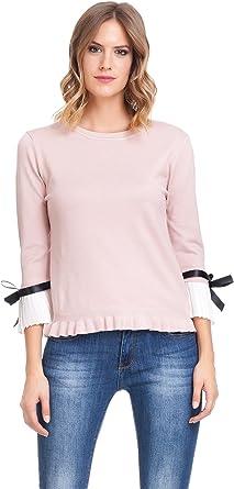 Laura Moretti - Jersey con Volantes en la Cintura y puños de Camisa Blancos Plisados con Lazo