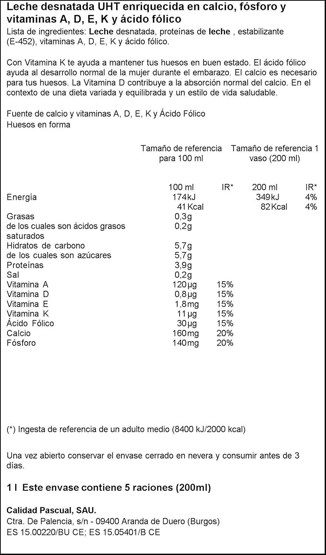 Leche Pascual - Calcio Leche Desnatada, Calcio natural 1 litro - Pack de 6 (Total 6 litros): Amazon.es: Alimentación y bebidas