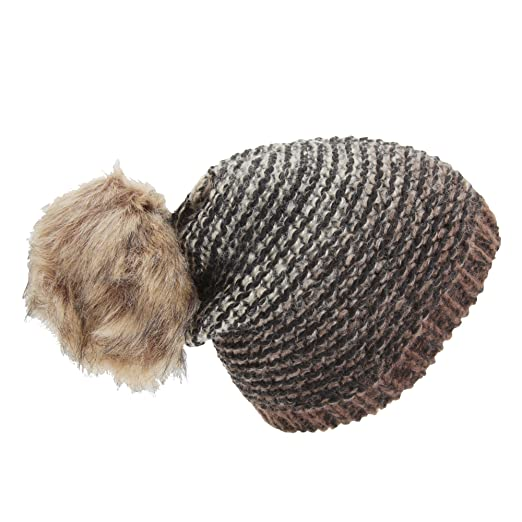 65a1f41b39b Universal Textiles Womens Ladies Ombre Knit Winter Beanie Hat With Faux Fur  Pom Pom (One Size) (Dark Brown Black) at Amazon Women s Clothing store