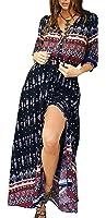 R.Vivimos Women Summer Print V Neck Maxi Dresses