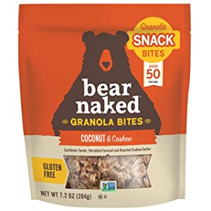 Bear Naked Granola Bites, Coconut and Cashew, Vegan and Gluten Free Snacks, 7.2oz Bag