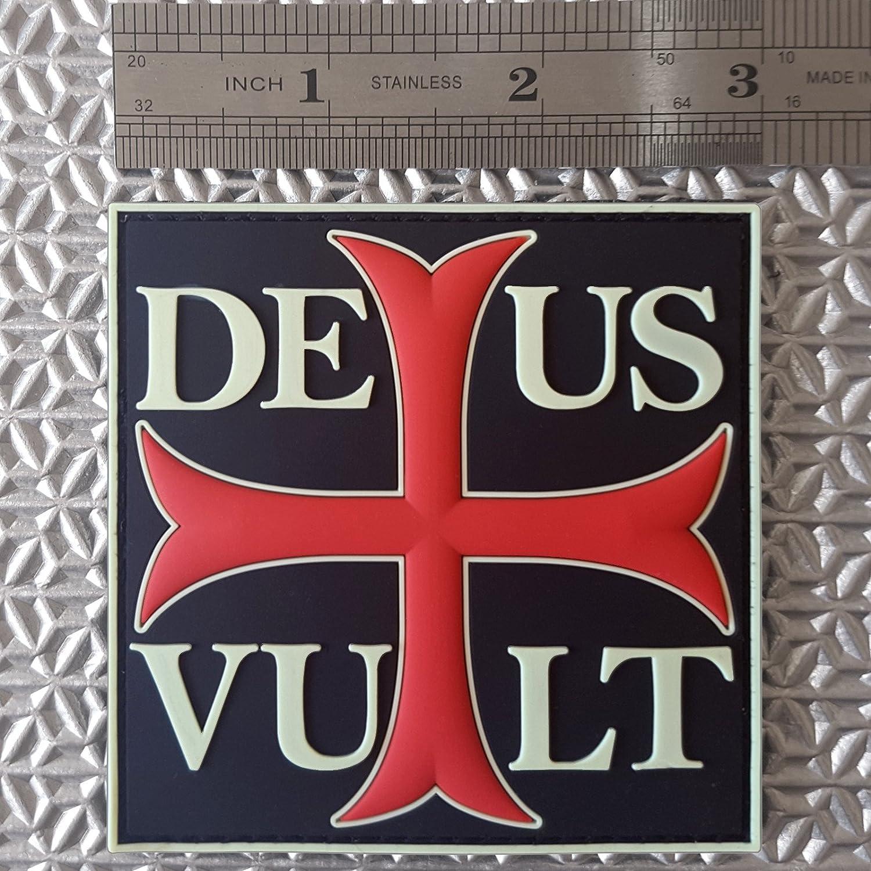 2AFTER1 Glow Dark Deus Vult God Wills It Crusader Knight Cross Crusaders Morale PVC Rubber Hook/&Loop Patch