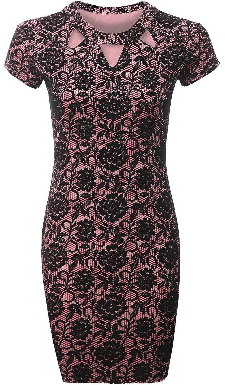 Miss Trendy Women's Floral Flock Detail Front Keyhole Cap Sleeve Bodycon Dress