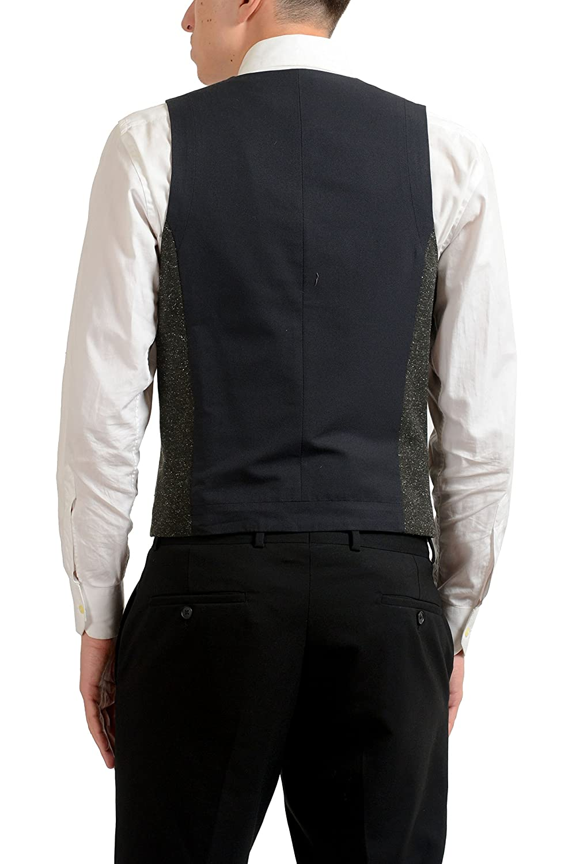 Hugo Boss Orange Bacer4 Mens Silk Wool Gray Button Up Dress Vest US S IT 48