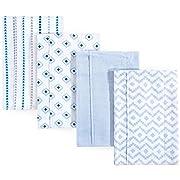 Hudson Baby Layered Flannel Burp Cloths, 4 Pack, Boy Modern