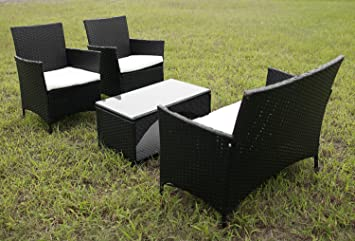 Merax 4 Piece Outdoor Patio PE Rattan Wicker Garden Lawn Sofa Seat Patio Rattan  Furniture Sets