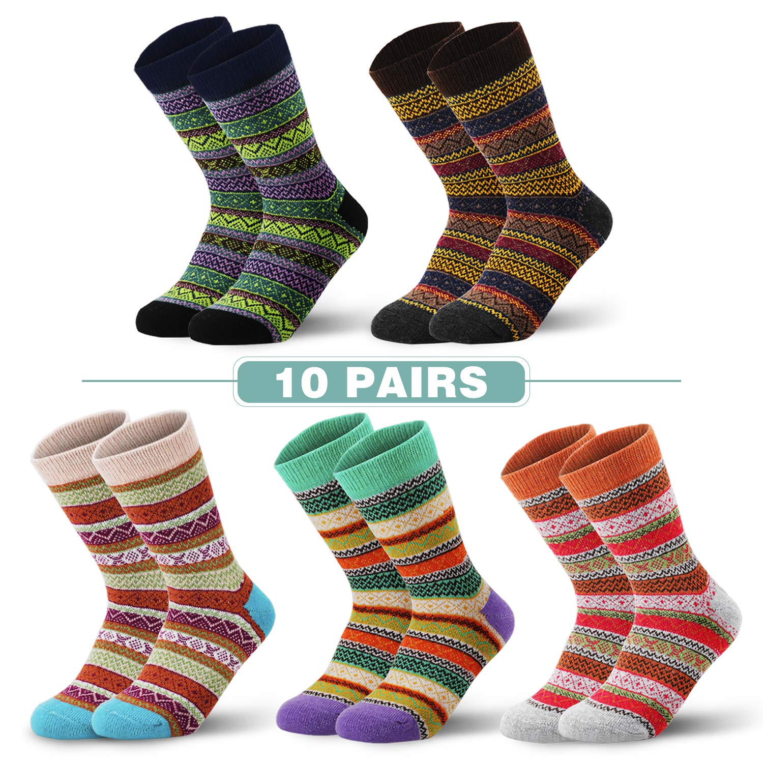 10 pair Womens winter wool socks