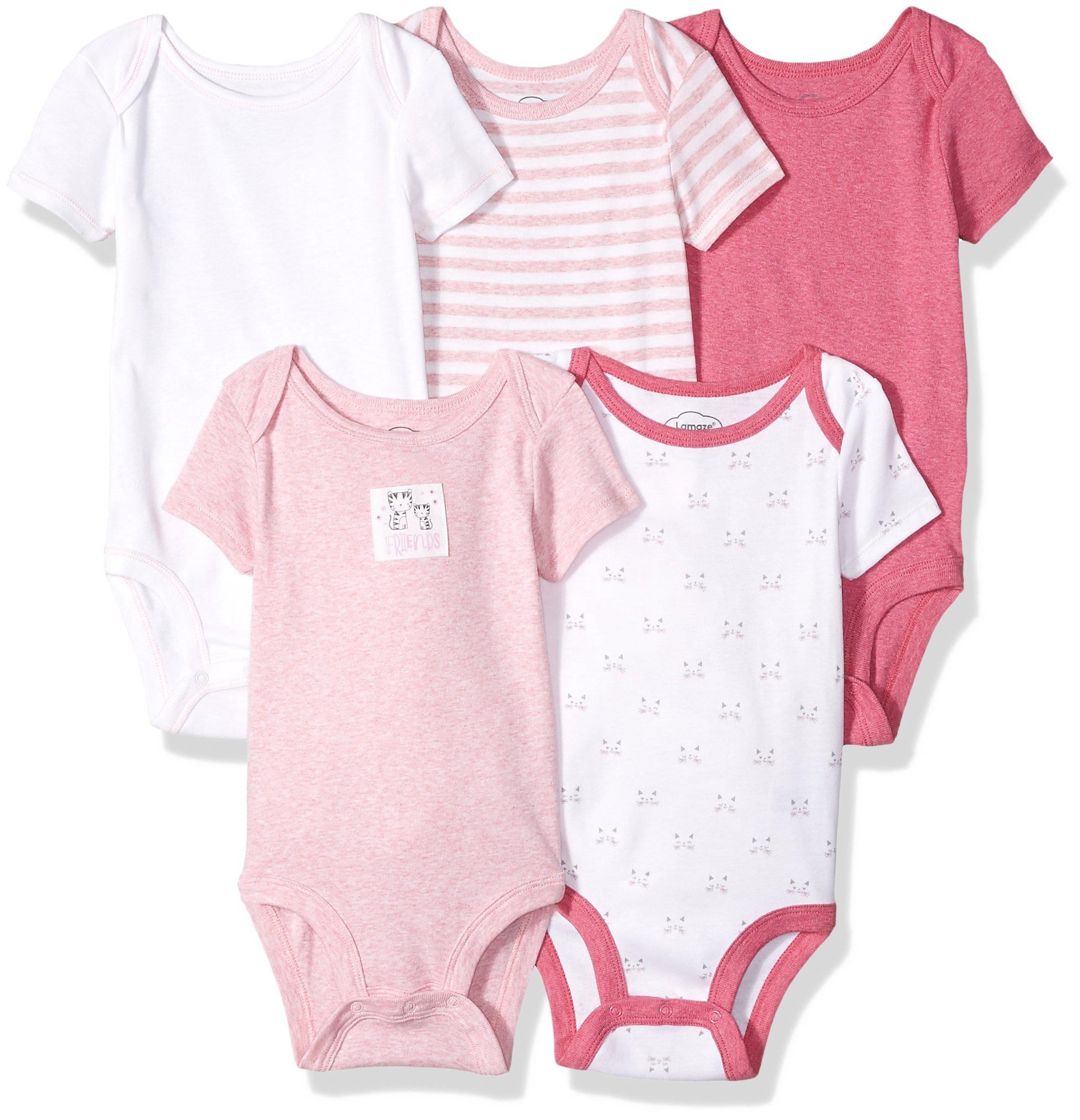 Lamaze Baby Organic Essentials 5 Pack Shortsleeve Bodysuits, Pink, 3M