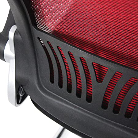 hjh OFFICE 706819 visitor chair FLYER PRO V mesh fabric black red foldable armrests lumbar support ergonomic