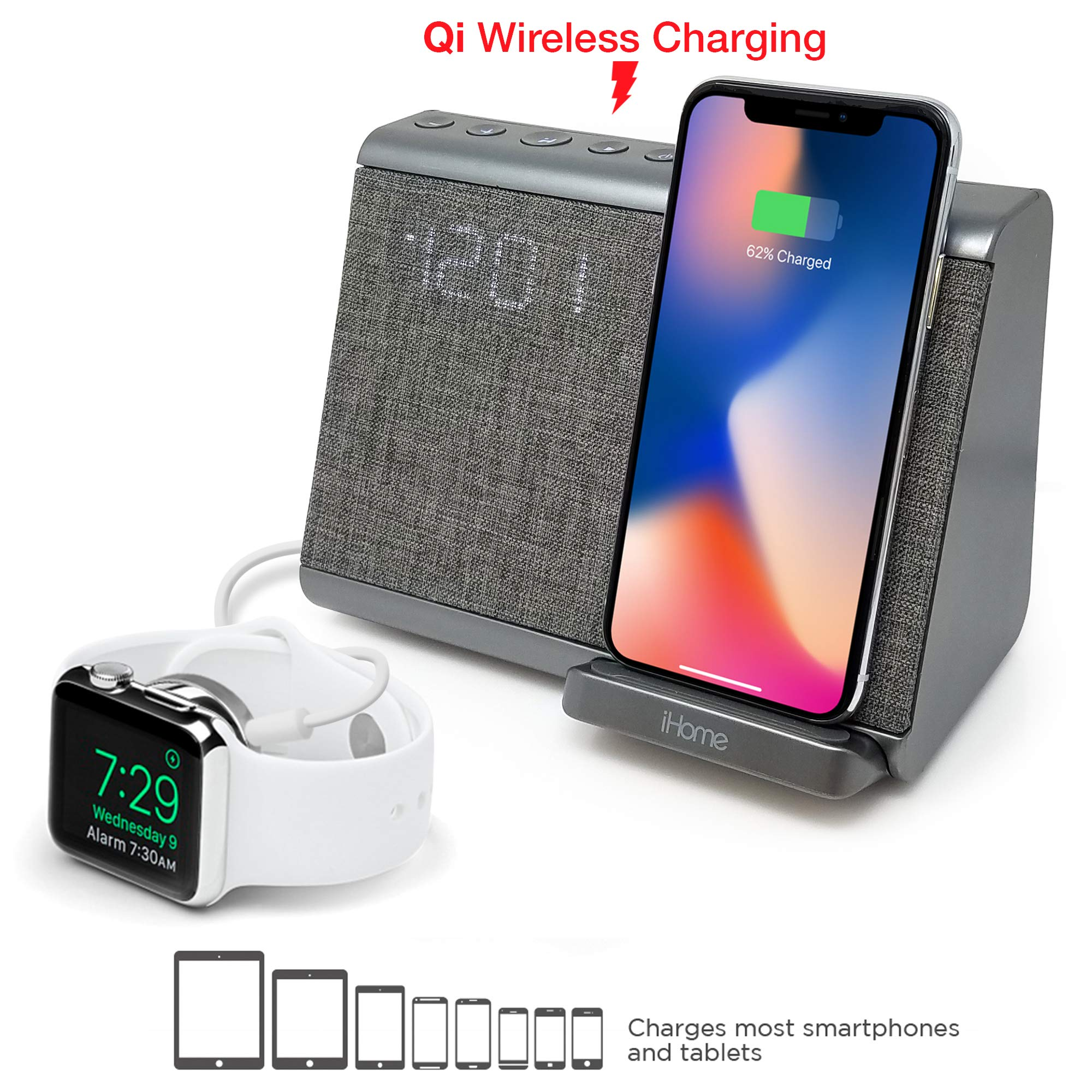 iHome iBTW39 Bluetooth Dual Alarm Clock with Wireless Charging, Speakerphone and USB Charging Port by iHome