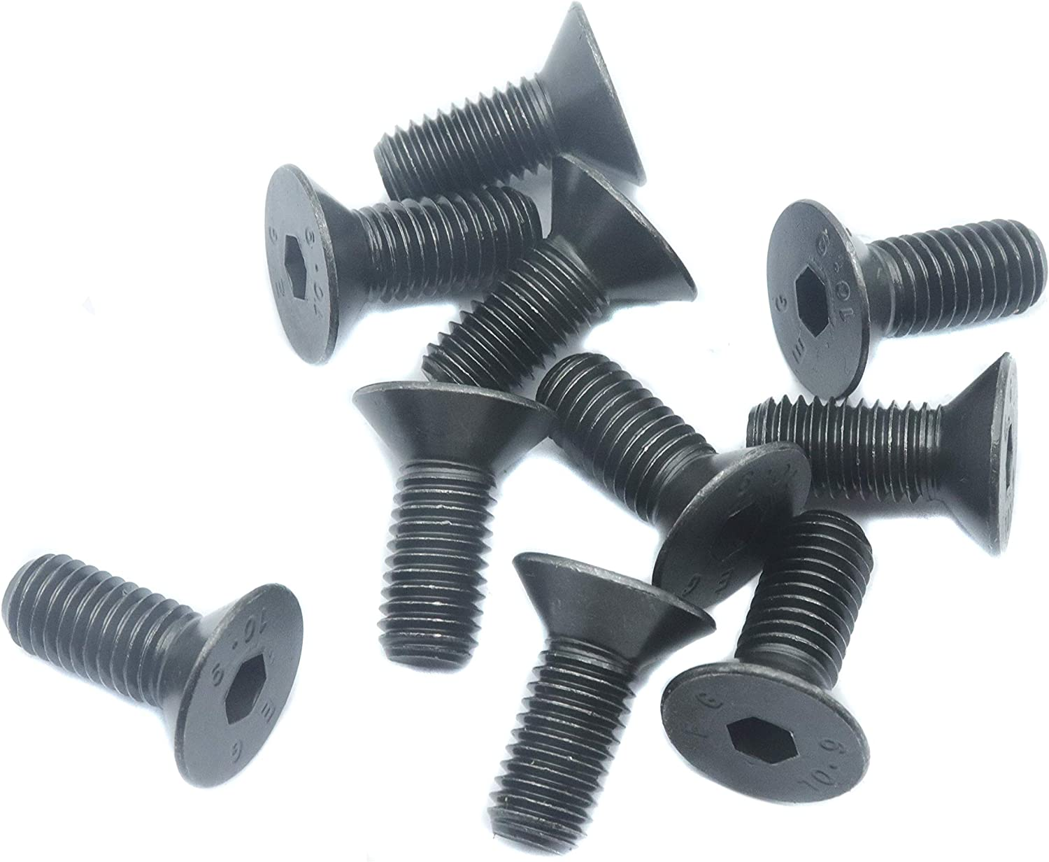 binifiMux 10pcs M10 Black Flat Hex Socekt Cap Bolts 10.9 Grade Alloy Steel M10x25mm