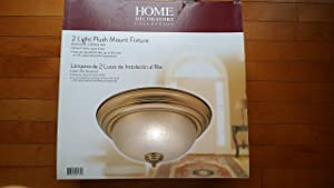 Home Decorators Collection Keswick 2-Light Brushed Brass Flush-Mount