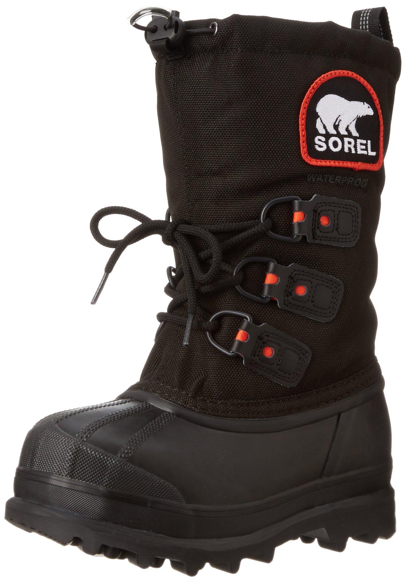 Sorel Youth Glacier XT Extreme Weather Boot (Little Kid/Big Kid),Black/Red Quartz,7 M US Big Kid by SOREL