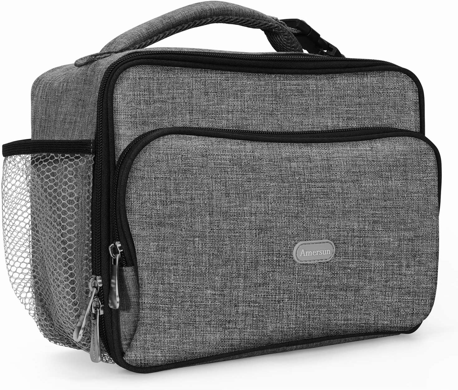 Amersun Lunch Box,Sturdy Insulated Lunch Box with Padded Liner Keep Food Warm Cold for Long Time,Water-resistant Thermal Lunch Cooler for Men Women Aduts Travel Picnic Office(2 Pockets,Grey)