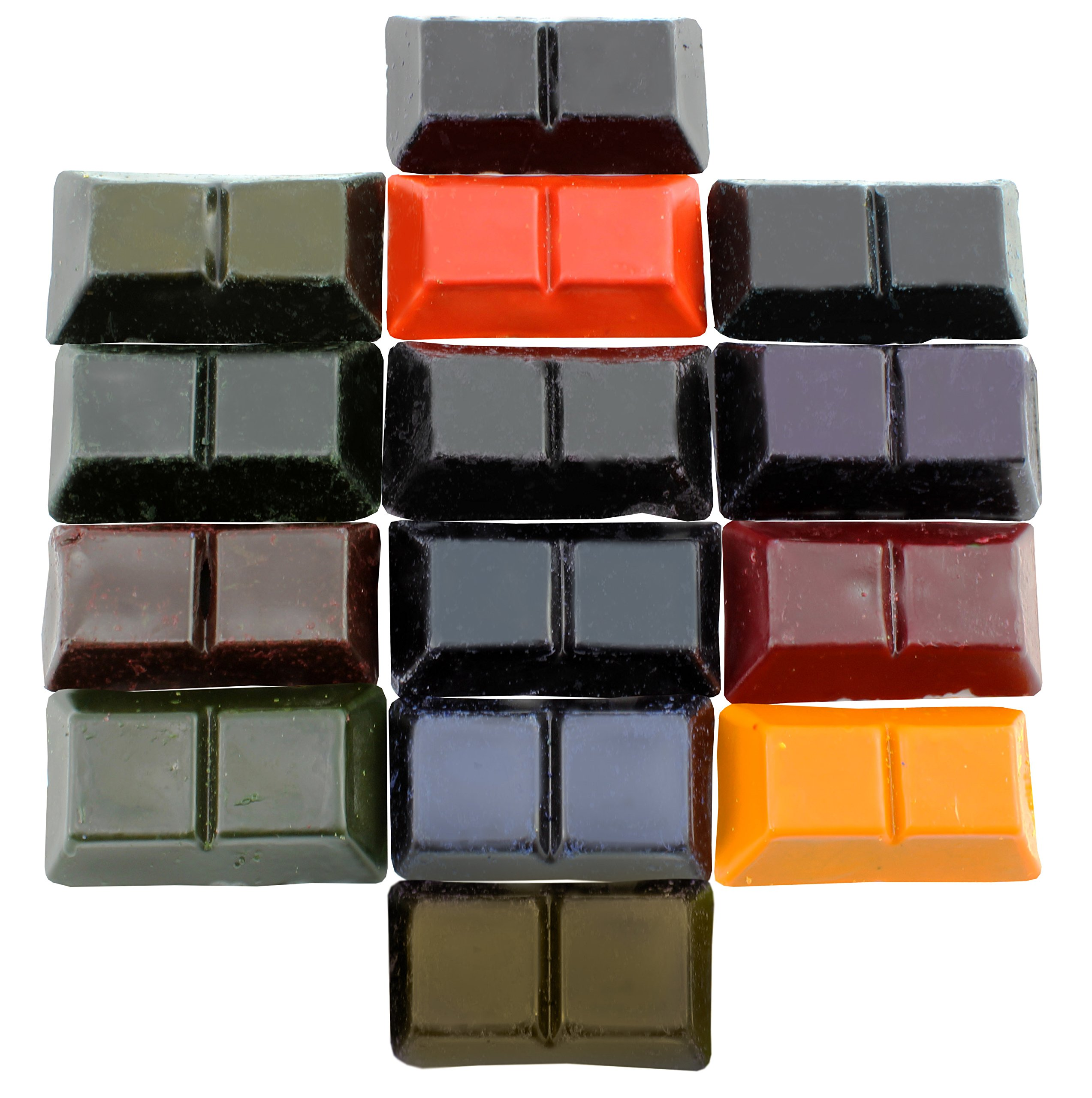 Candle Making Dye Block Color Variety Pack (14-Color Pack, 7oz Total); Candlemaker's Colors Sampler 25-200Lbs Wax w/ Red, Blue, Orange, Green, Purple, Yellow, Black, Pink, Brown Etc