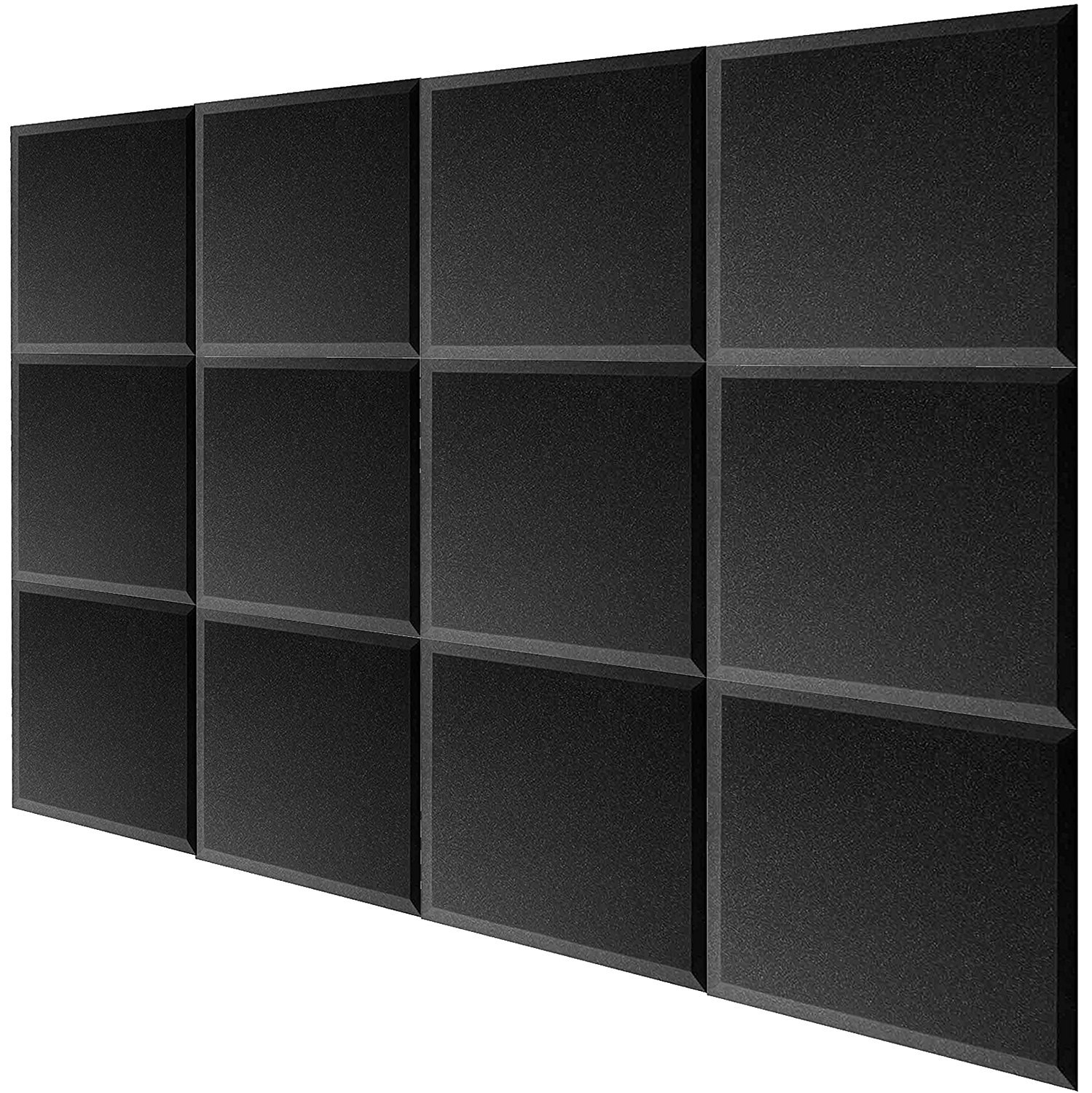 Mybecca 24 pack Acoustic Foam BEVEL Tiles Soundproofing Wall Panel 12 x 12 x 1 inch, Made in USA