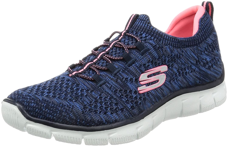 Skechers Empire-Sharp Thinking, Zapatillas sin Cordones para Mujer 39.5 EU Azul (Navy/Pink)