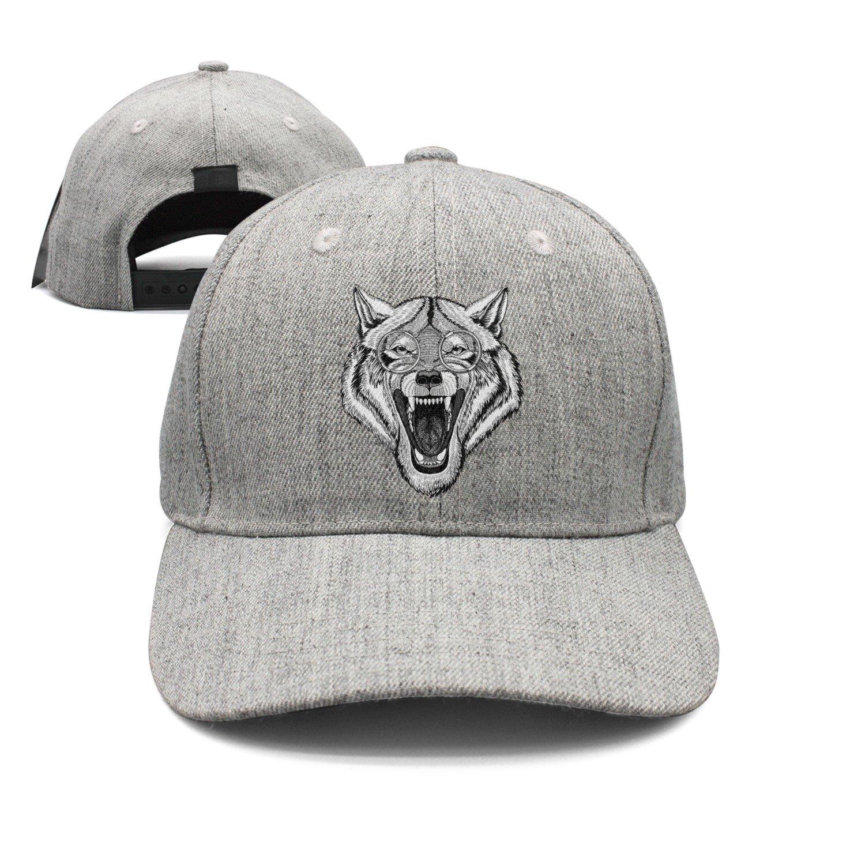 Hippie Hipster Wolf Wearing Glasses Angry Wolf Woolen Peak Cap Snapback Hat Vintage Snapbacks Grey