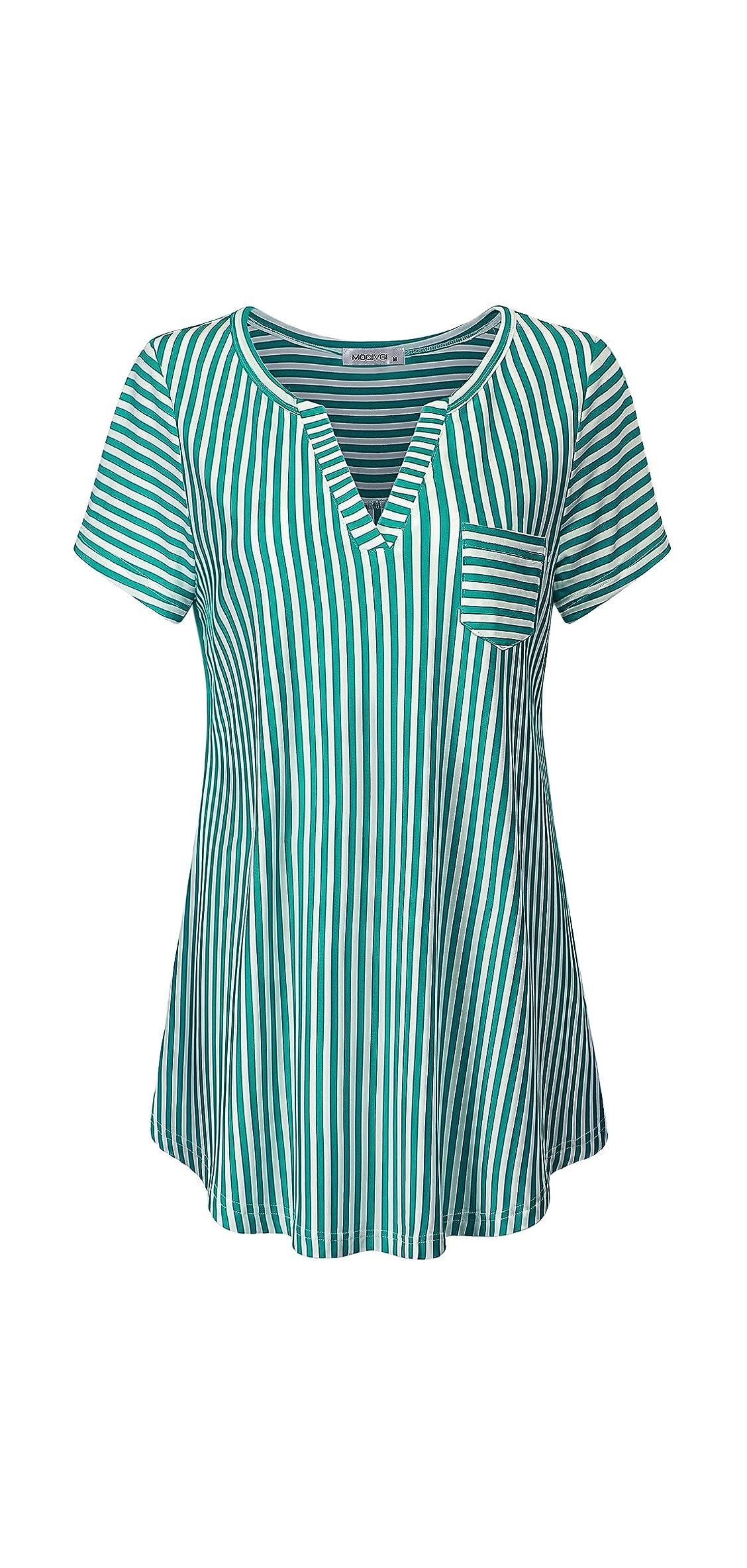 Women's Summer Stripe Vneck Short Sleeve Blouse Tops