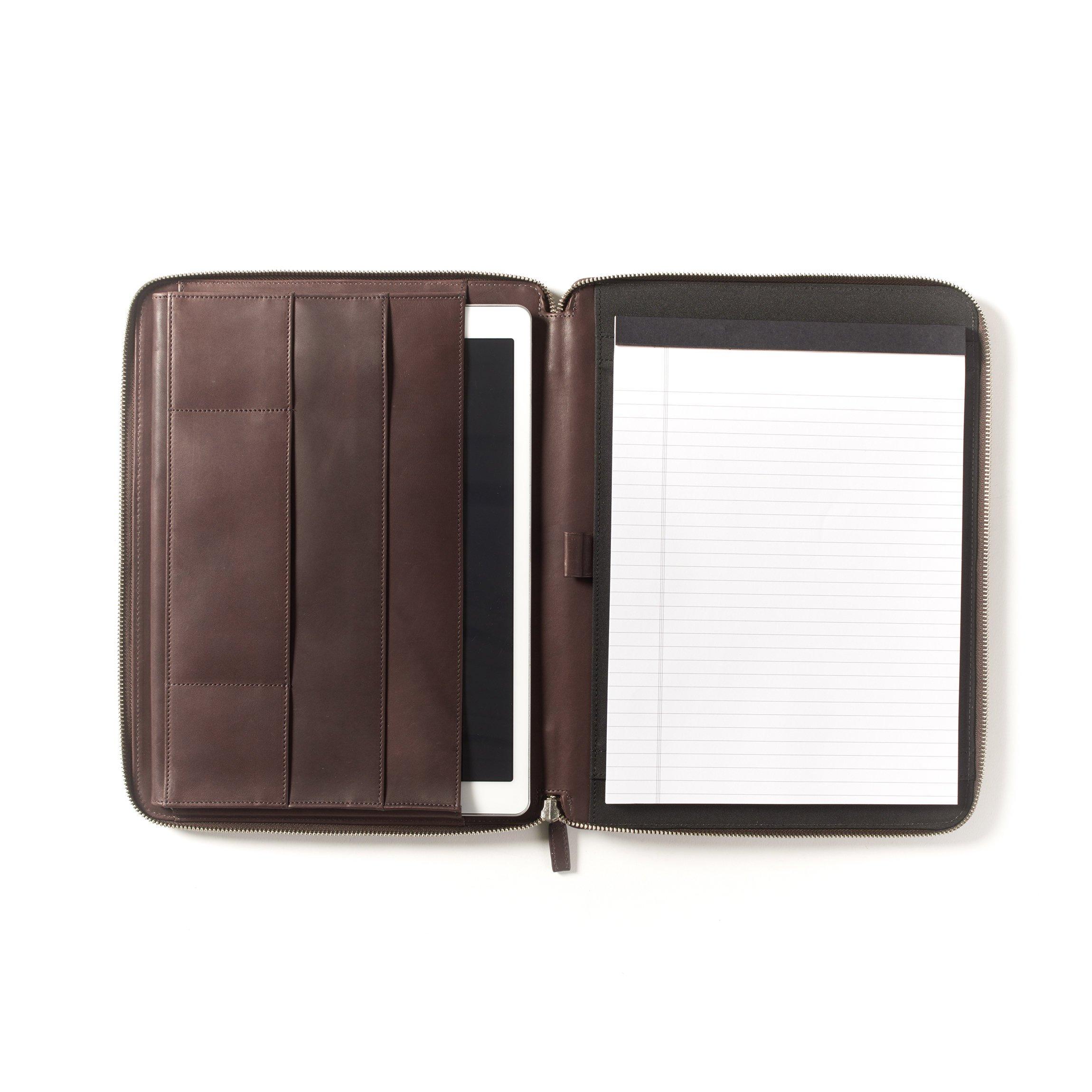 12.9 Inch Ipad Pro Portfolio - Full Grain German Leather Leather - Mahogany (brown)