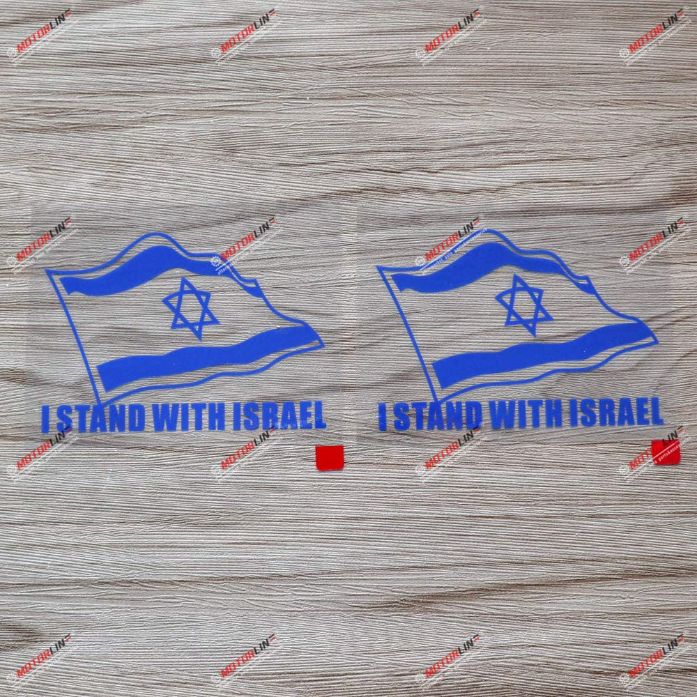 2X Blue 4 Inches I Stand with Israel Israeli Flag Support Israel Decal Vinyl Sticker Car Laptop Window