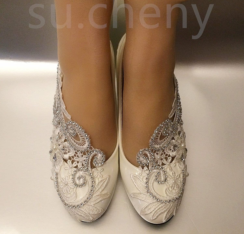 Pompes Us Talons Chaussures 5–10 Mariage Blanc 1 Cm5 Dentelle Faible Perles Cales 5 De Jingxinstore 5 Cm Taille Cristal TFJ3K1cl