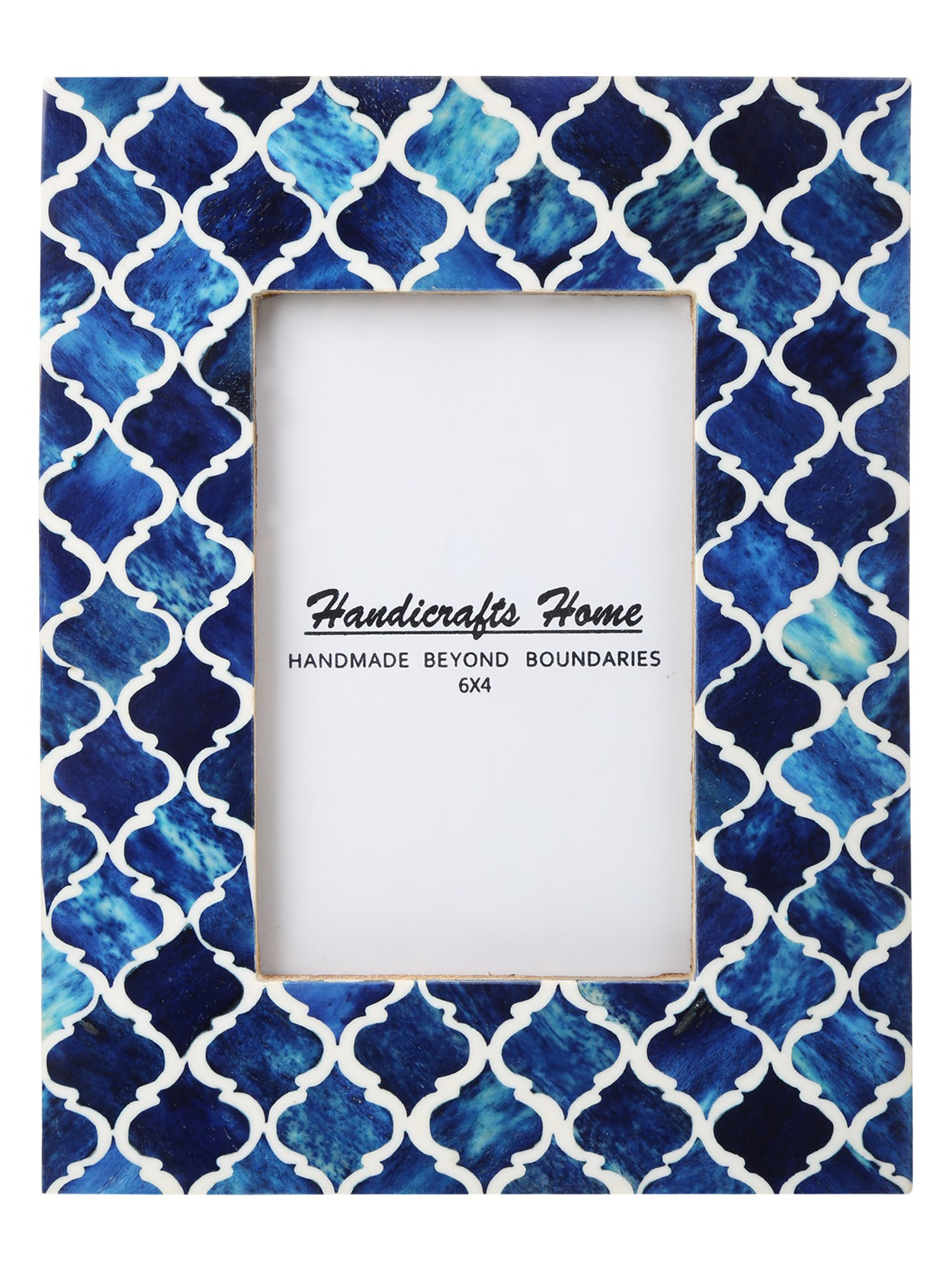 Picture Frame Photo Frame Moorish Damask Moroccan Arts Inspired Handmade Naturals Bone Frames Size 4x6 & 5x7 inches (4X6, Blue)