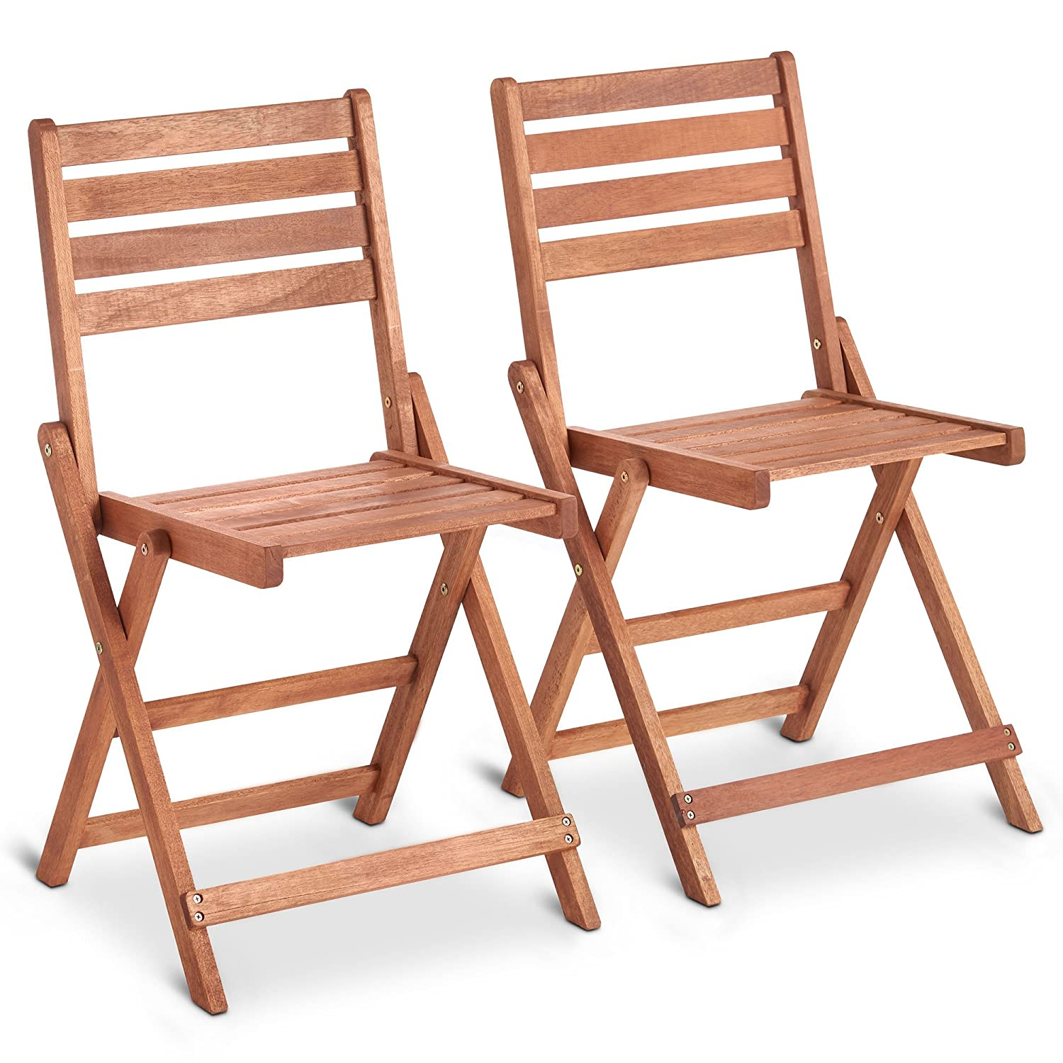 VonHaus Set of 2 Garden Chairs 2 Pack of Wooden Folding Chairs