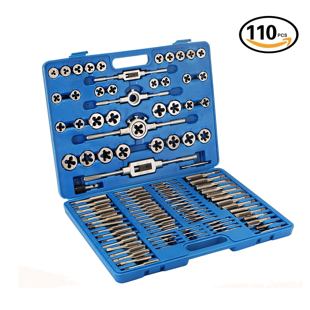 Zoostliss 110 Piece Sae Metric Tap and Die Set Tungsten Steel Titanium Sae and Metric Tools with Carrying Case