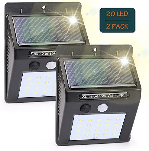 DOUBLE-K LIGHT 2 Pack Waterproof Solar Lights Outdoor, Wireless 20 LED Motion Sensor Light for Porch Patio Yard Deck Stairway Driveway