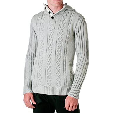 D Lux Mens Cotton Cable Knit Hooded Sweater Grey Small At Amazon