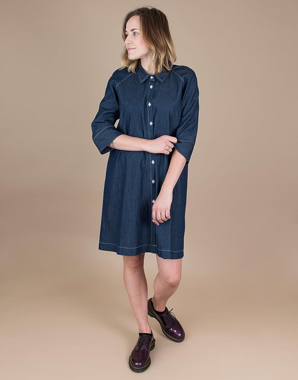 f0dd8cebcd3a Amazon.com: Women's 3/4 Sleeve Denim Shirt Dress: Handmade