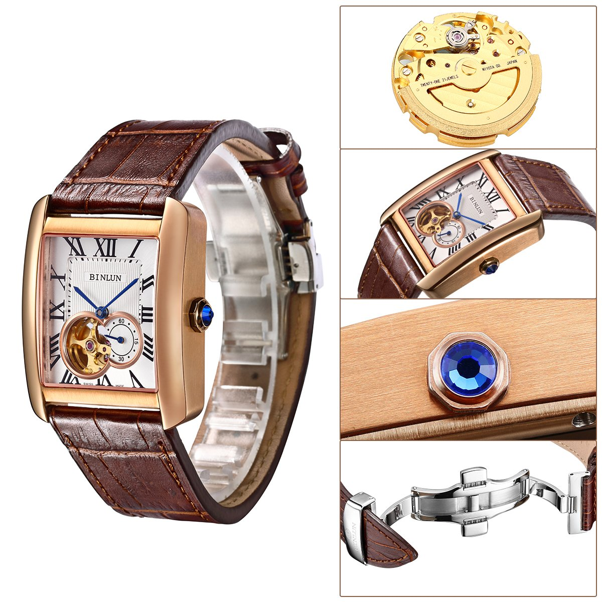 Binlun Men's Rectangle Shape Gold-Plating Business Mechanical Self-Winding Watch Brown Leather Band by BINLUN (Image #1)