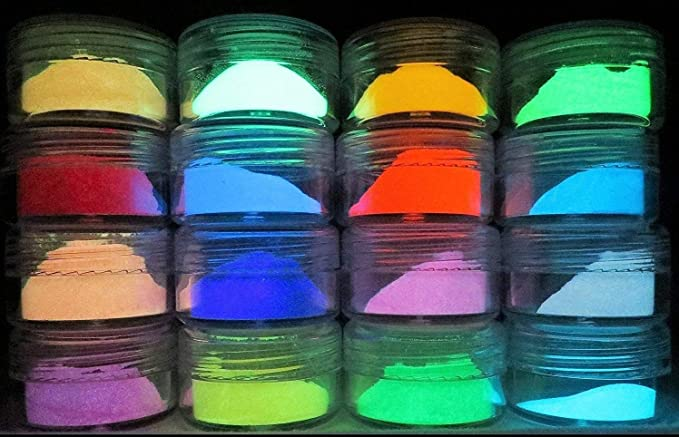 Pigmento en polvo, brilla en la oscuridad,larga duración,recomendado para todo tipo de medios sin color TINTA. PINTURA. RESINAS. CRISTAL. ETC.