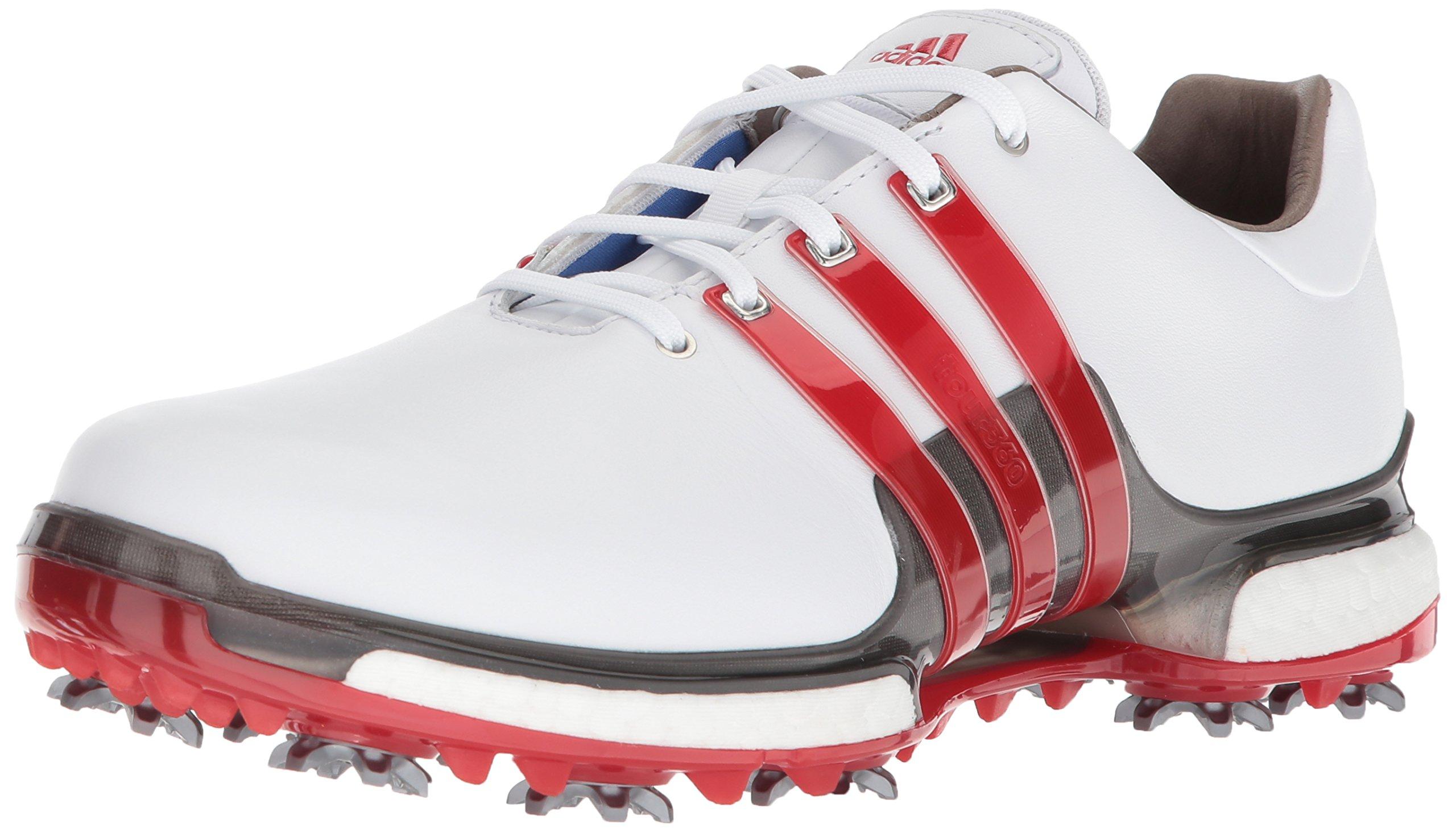 adidas Men's TOUR 360 2.0 Golf Shoe, White/Scarlet/Dark Silver Metallic, 7 M US