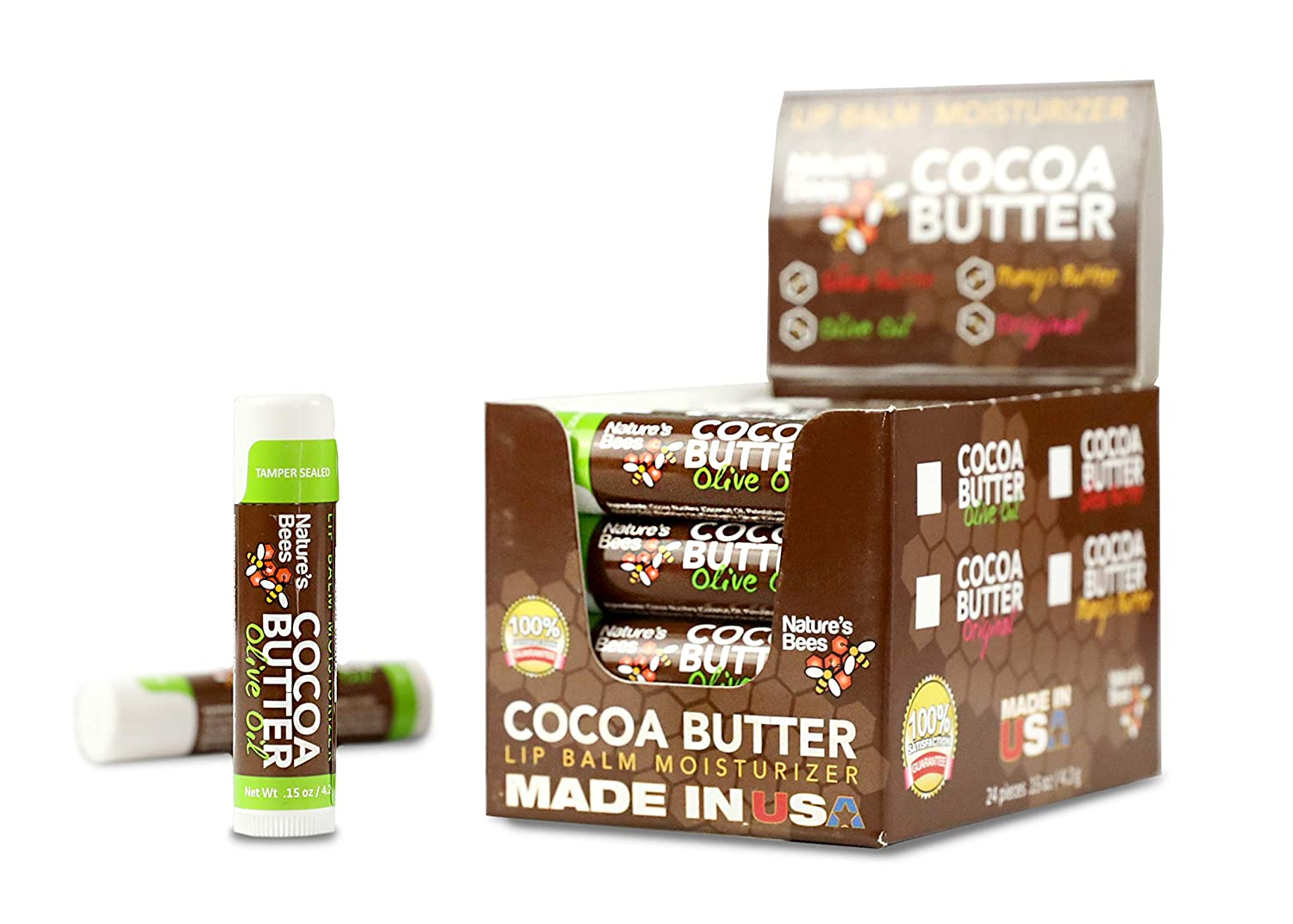 Nature's Bees, Cocoa Butter Lip Balms, Olive Oil, with Shea Butter - Pack of 24
