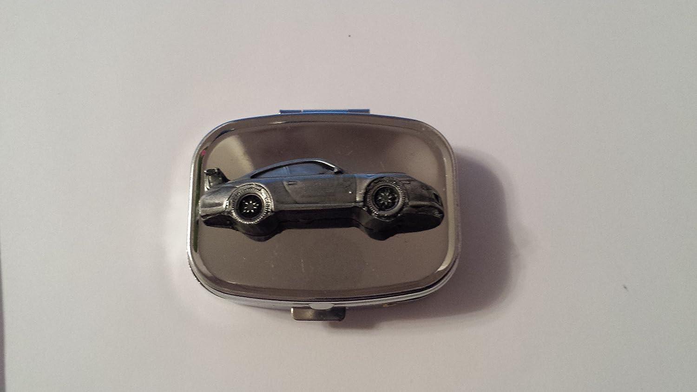 Porsche 911 GT3 ref315 pewter effect emblem on travel silver rectangular  metal pill box